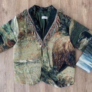 Handmade L woven southwest tassel jacket animal